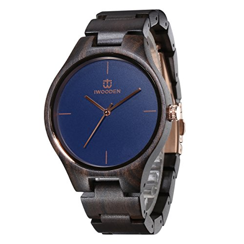 (IWOODEN Ebony Wood Watch Analog Quartz Wrist Watch For Men Vintage Handmade Watch with Watch Box Gifts for Men (blue))