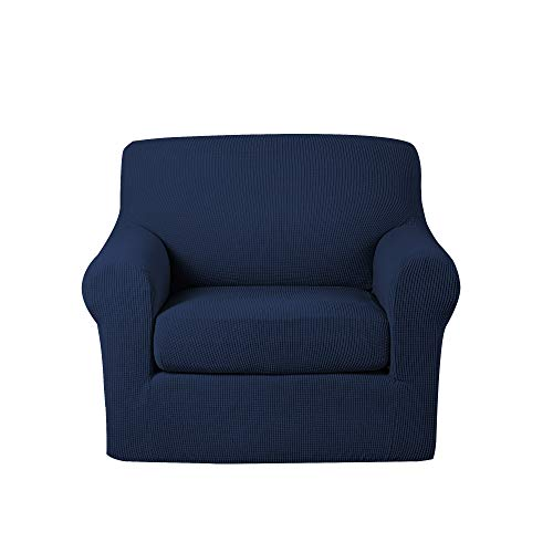 - Turquoize 2-Piece Jacquard Polyester Spandex Sofa Slipcover Stretch Chair Coverslip Strapless Solid Print (Navy,Chair Cover)
