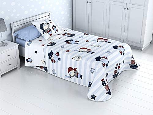 Cabetex Home - Colcha Bouti Infantil Reversible 100% con Funda de cojín y Tacto algodón Mod. Pirata (Cama de 90 cm (180x270 cm)): Amazon.es: Hogar
