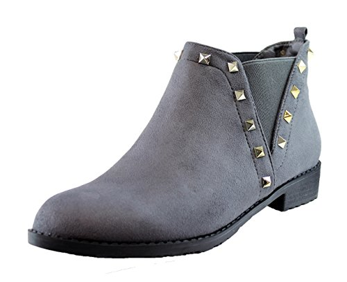 New Womens Ladies Chelsea Flat Ankle Boots Studded Casual Pull On Low Heel Shoes Grey