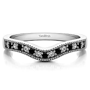 0.25 ct. Black And White Diamonds (G-H,I2-I3) Vintage Contour Band with Milgrained Edges in 10k White Gold (1/4 ct. twt.)