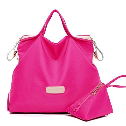 FCZERO HB10052 Oxford Cloth Handbag for Women,Temperament & Simple Shoulder Bags,Hotpink