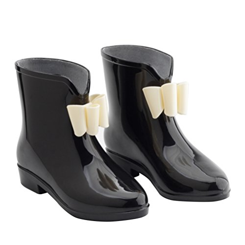 Omgard Women's Ankle Rubber Rain Boots Low Heel Jelly Bow Rainboots Waterproof Color Black Size 6.5 - Bow Ankle Boot