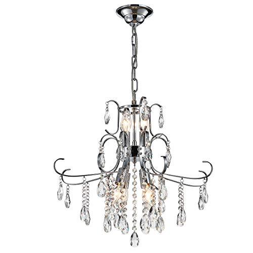 - ANJIADENGSHI Modern Crystal Chandelier 6 E12 Bulbs with Adjustable Hanging Light Fixture for Dining Living Room Foyer Bedroom, Chrome