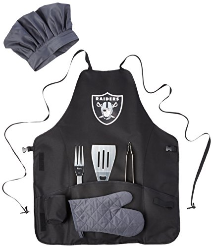 PICNIC TIME NFL Oakland Raiders BBQ Apron Tote Pro with Tools