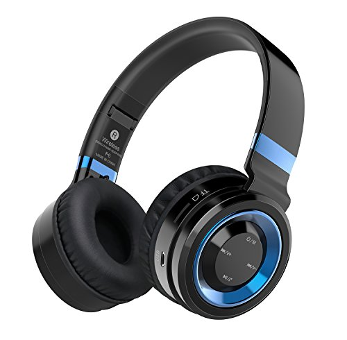 Sound Intone P6 Wireless Headphones with Microphone and Volume Control for Cellphones iPhone Laptop TV (Black Blue)