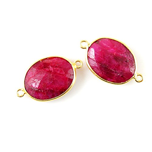 Gemstone Connector - Vermeil - 14x18mm Faceted Oval Link - Dyed Ruby (Sold Per 2 Pieces)