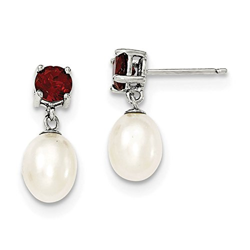 925 Sterling Silver 7-8mm Freshwater Cultured Pearl & Garnet Dangle Post Earrings