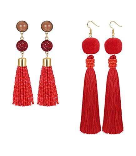 Red Beaded Earring - 9