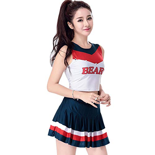 Women's Team Sleeveless Cheerleading Costume,Student Basketball Football Baby Night Club bar ds Costumes,A-Word Skirt + top Two-Piece Suit,Suitable for Halloween/Cosplay/Dance -