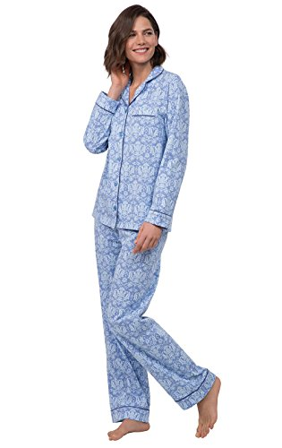 PajamaGram Button Up Pajamas for Women - Women's PJs Sets, Blue Damask, 3X 24-26