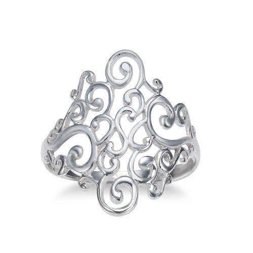Chuvora 925 Sterling Silver Spiral Filigree Swirl Polish Finished Band Ring - Size 9