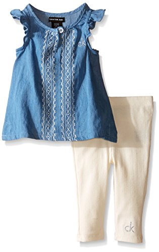 Calvin Klein Baby-Girls Light Denim Tunic and Rib Leggings, Blue, 3-6 Months