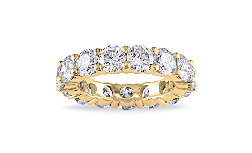 NYC Sterling 4MM Gold Cubic Zirconia Round Luxury Eternity Rings, Box Included (8) ()