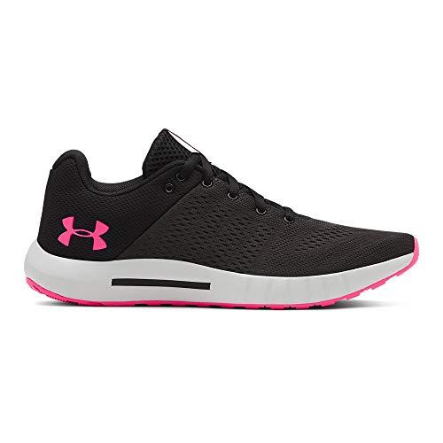 UNDER ARMOUR womens Micro G Pursuit Running Shoe, Black (005)/Elemental, 9.5