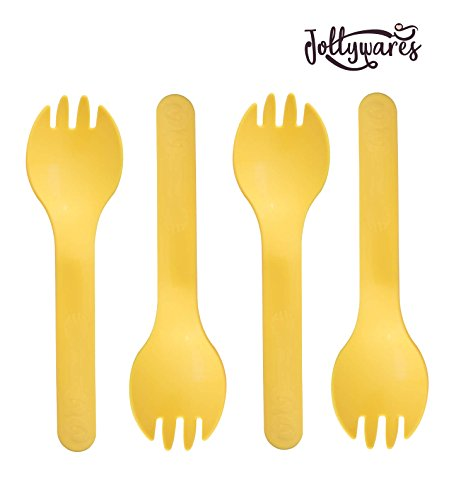 "Jollywares Colorful 5.3"" Premium Quality Disposable Plastic Spork (Yellow)(1 Pack of 50 pcs)"