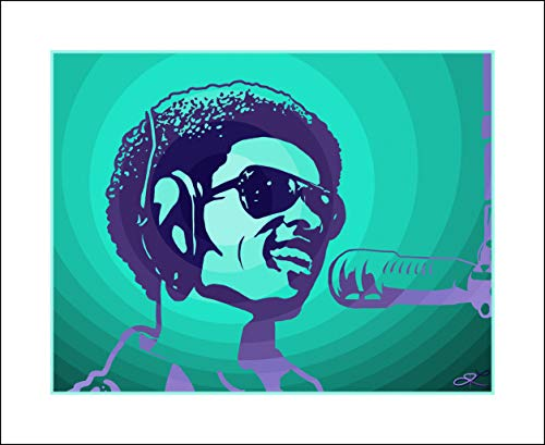 - Plaid Design Stevie Wonder Fine Art Print (V2) - 18x22 - Signed/Numbered Limited Edition Pop Art Giclée - Artwork by John Lathrop