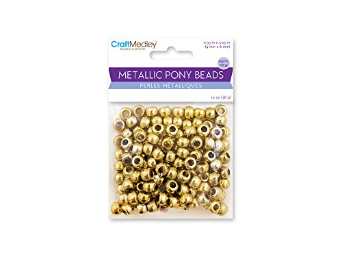Craft Medley BD240A Metallic Pony Beads, 9x6mm Barrel, Gold (Bead Medley)