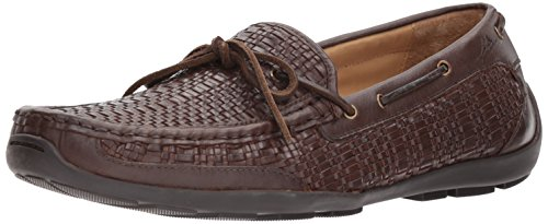 Tommy Bahama Men's Tangier Driving Style Loafer, Dark Brown Woven, 10.5 D US Brown Woven Leather Loafer