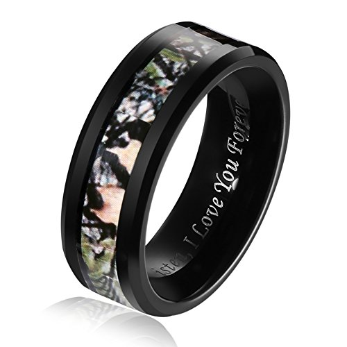 Hosty Bten Black Tungsten Band Rings I Love You FOEVER Jewelry Camouflage Inlay Size -