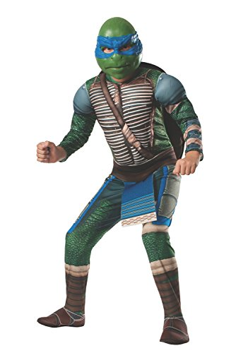 [Rubies Teenage Mutant Ninja Turtles Deluxe Muscle-Chest Leonardo Costume, Child Small] (Ninja Turtle Costumes Boys)