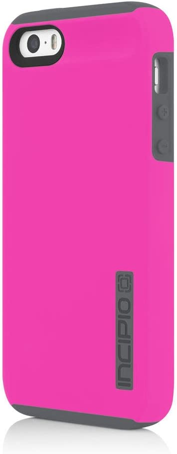 iPhone SE 5S 5 Case, Incipio iPhone SE 5S 5 Case DualPro Shockproof Hard Shell Hybrid Rugged Dual Layer Protective Outer Shell Shock and Impact Absorption Cover - Highlighter Pink/Charcoal
