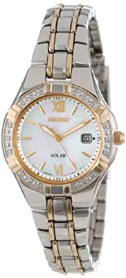 Seiko Women's SUT068 Dress Solar Classic Diamond-Accented Two-Tone Stainless Steel Watch from Seiko