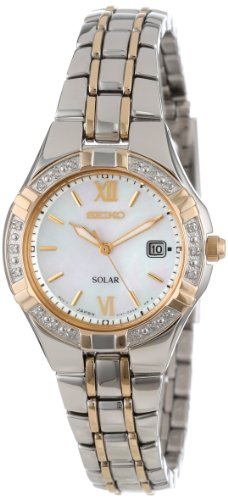 (Seiko Women's SUT068 Dress Solar Classic Diamond-Accented Two-Tone Stainless Steel Watch)