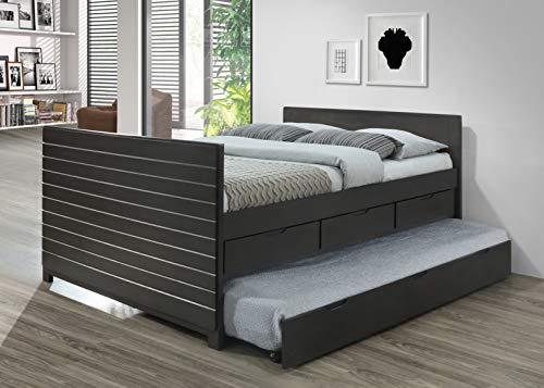Furniture K31 K31-B Full Captain Bed w/Twin Trundle, Gray
