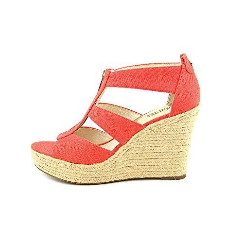 Michael Kors Sandals Toe Open (MICHAEL Michael Kors Womens Damita Leather Open Toe Casual Wedges Sandals Mimosa Size 8.5 M US)