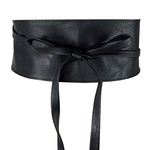Beauty Bloom Women's Faux Leather Wrap Around Obi Style Waist Band Cinch Belt, Black (PU), One Size