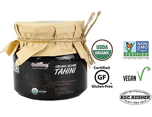 ONETANG Organic Tahini, 100% Organic Black Sesame Paste Stone-Ground Unhulled Unsalted, Non-GMO, Gluten-Free, Kosher, Peanut-Free, 7.05 Ounce (200g)