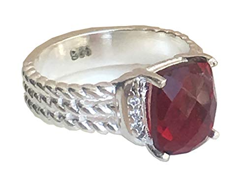GEMPARA Inspired 10x8mm Petite Wheaton Ring with Garnet and Simulated Diamonds (7)