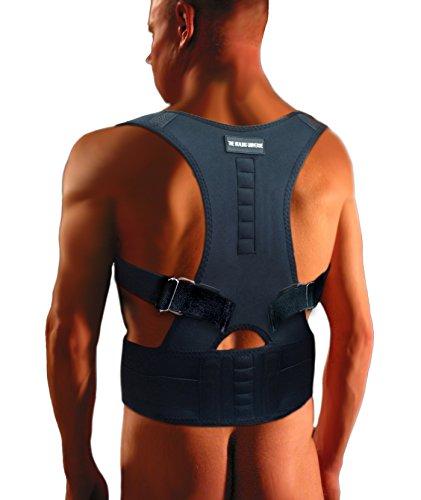 The Healing Universe Thoracic Back Brace - Kyphosis Brace Back Posture Corrector Brace - Adjustable Back Shoulder Chest Support - Best For Back Support for Tall Men Women (2XL, Black)