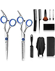 Hair Cutting Scissors Kits, brightower 11 Pcs Professional Hairdressing Set, Stainless Steel Hairdressing Shears Set for Baber, Salon and Home