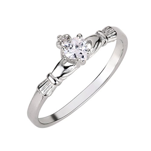 CloseoutWarehouse Cubic Zirconia Benediction of the Claddagh Ring Sterling Silver Size ()