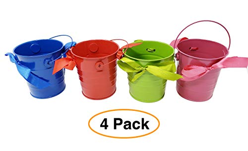 Small Metal Bucket Tin Arts & Craft w/Ribbon and Handle Colored Decorative pails or Flower Pot 4