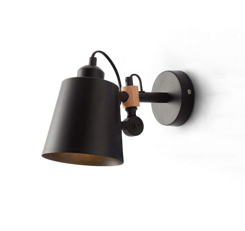 Shangxiangtrade 現代のミニマリストの壁ランプ北欧クリエイティブファッションレストラン寝室のベッドサイドウォールランプ壁ランプ (Color : ブラック) B07R8L5X61 ブラック