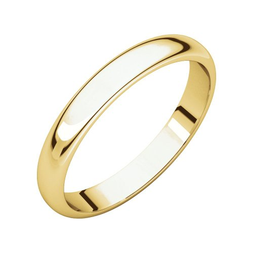 Security Jewelers 10k Yelllow Gold 4mm Half Round Light Band, 10kt Yellow Gold, Ring Size 11 ()