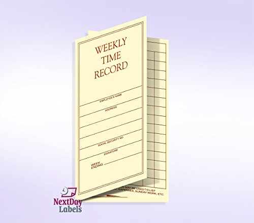 Weekly Employee Pocket Size Time Cards by Next Day Labels (Image #1)