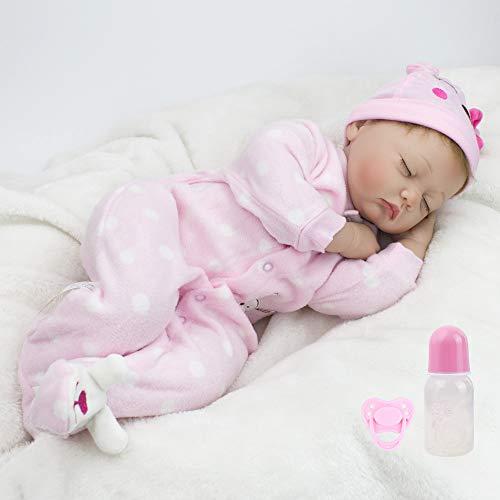 Silicone Vinyl Doll - CHAREX Reborn Sleeping Baby Doll Soft Silicone Vinyl Lifelike Realistic 22 inch Weighted Newborn Dolls Gift