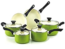 Premium Cookware Set Nonstick Ceramic Coating 10 Piece, Green, Scratch-Resistant PTFE PFOA and Cadmium Free, color paint resistant to high temperature and easy to clean. FoodNetwork Featured
