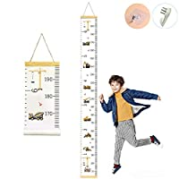 CCUT Kid Growth Chart Canvas & Wood Wall Ruler for Boys and Girls | Cartoon Construction Vehicle Patterns | Great for Nurseries, Bedrooms, Wall Decor | 79 Inches x 7.9 Inches