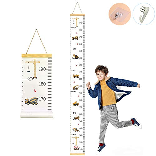 CCUT Kid Growth Chart Canvas & Wood Wall Ruler for Boys and Girls | Cartoon Construction Vehicle Patterns | Great for Nurseries, Bedrooms, Wall Decor | 79 Inches x 7.9 Inches]()