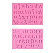 BAKER DEPOT 3D Silicone Cake Decorating Tools Fondant Mold Lowercase Letters Case Letter Silicone Baking Tool Set of 2 Pink Color