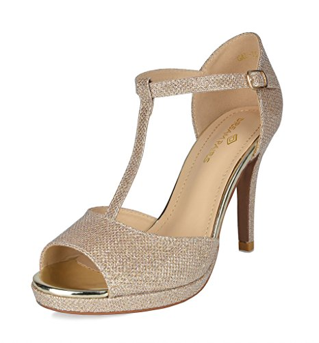 DREAM PAIRS Women's GAL_15 Gold Glitter Fashion Stiletos Heeled Sandals Size 9.5 B(M) - Bridesmaid Shoes