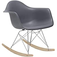 POLY & BARK EM-121-GRY-AMA Rocker Lounge Chair, Grey