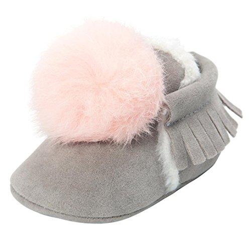 Hunpta Baby Mädchen Jungen Ball Troddeln Warm halten Baumwolle gepolsterte Schuhe Sneaker rutschfeste Schuhe Grau