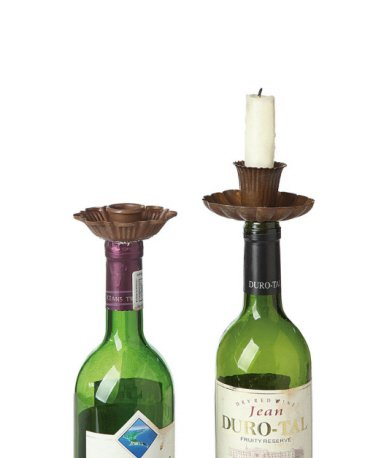 Metal Flower Candle Taper Holders & Bottle Stoppers, Rust Color 2pk by Creative Co-op