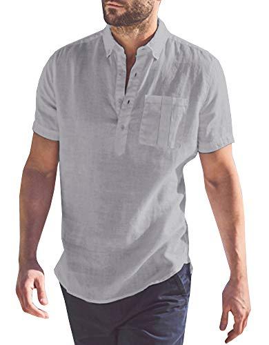 Mens Short Sleeve Polo Shirts Beach Linen Cotton Yoga Summer Casual Henley Tops with Pocket Grey